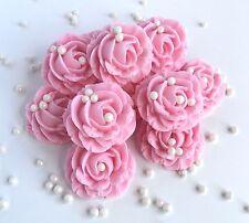 Pink Roses & Pearls Sugar Edible Flowers Wedding Christening Cake Decorations