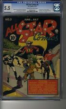 All Star Comics (1940) # 5 - CGC 5.5 Cream/OW Pages - First Hawkgirl & Mister X