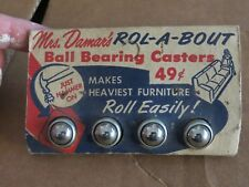 Mrs.Damer's ROL-A-BOUT ball bearing casters original package vintage