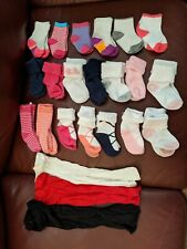 Infant Girls Sock Lot 20 Pair Mixed Sizes Newborn to Small Toddler 3 Tights Baby