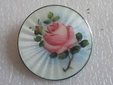 Antique Sterling Silver Norwegian Norway Floral Flower Hand Painted Brooch Pin