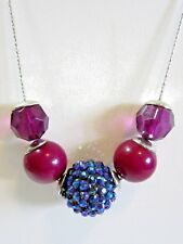 MODERN STYLE 'BALL' PENDANT NECKLACE RED PURPLE PEACOCK COLOR RHINESTONE MODERN