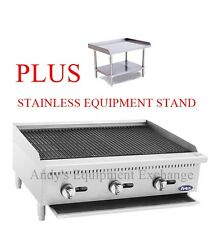"36"" 3 foot wide Natural Gas Commercial Char Rock Food NSF Grill Broiler + Stand"