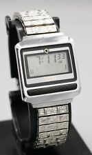 Rare Early 1980's - Timex Q LCD Digital Metal Case Men's Wrist Watch New Battery