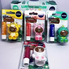 SET NIVEA Lip Balm Gloss Care Gift Lip Holder Collection Line Brown 4.8 g.x4 PCs