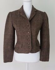Vintage Ralph Lauren 100% Wool Tweed Brown Cropped Jacket Blazer Size 8 Made USA