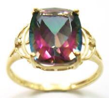 SYJEWELRYEMPIRE 10KT YELLOW GOLD CUSHION MYSTIC TOPAZ & DIAMOND RING SIZE7 R1423
