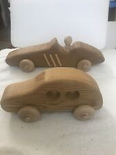 Two Handcrafted Wooden Toy Cars