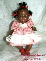 ANTIQUE 1930's COMPOSITION GIRL Hand made DRESS 11'' DOLL