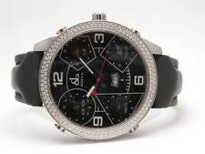 JACOB & CO 5 TIME ZONES DIAMOND CASE QUARTZ 47MM BLACK BAND MEN'S WATCH