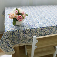 Home Kitchen Blue White China Agamemnon Navy Cotton Sateen Cloth Tablecloth MP