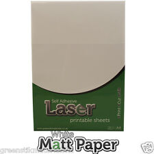 10 x A4 Autocollantes Laser imprimable Livre Blanc Mat Autocollant Art feuilles