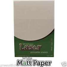 10 x A4 Autoadhesivo láser Imprimible Blanco Mate etiqueta engomada de papel Arte Hojas