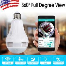 1080P 360° Panoramic Hidden Wifi IP Camera Light Bulb Home Security Lamp Cams US