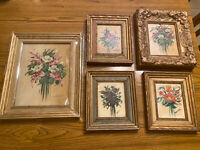 Artist Edna Lewis 1891-1982 original Framed floral oil  5 paintings