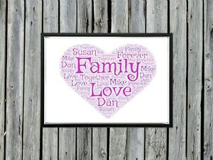 Personalised A4 Word Art Heart Family Love Gift Photo Picture Print Image