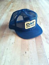 Vintage CAT Caterpillar DIESEL Power Logo Mesh Snapback Black Hat Cap USA