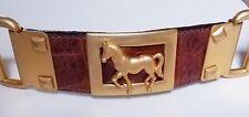 Vintage Street Ahead Leather snake skin And Gold Tone Horse Design Belt