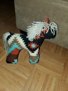 VTG Pendelton Style Native Horse Fleece Multi Color Blanket Plush Stuffed Animal