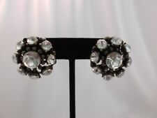 """Clip on 1"""" brass clear stone circle non pierced earrings"""