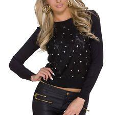 Damenshirt Shirt Bluse Top Damentop Oberteil Pulli Pullover schwarz S / M #213