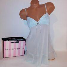 Victoria Secret Lingerie Chemise Slip Babydoll Large Light Blue Sheer Angel 2006