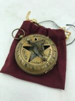 Nautical Antique Brass Sundial Compass Vintage, Solid Brass Aged Patina Finish