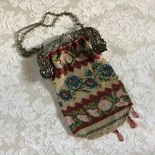 Antique Early 20c Sterling Silver Ornate Frame Floral Beaded Purse Florals