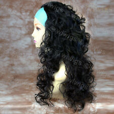 Wiwigs Long Curly Black 3/4 Fall Hairpiece Extension Ladies Wig
