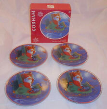 "New Gorham Set 4 6"" Crystal Santa Plates Christmas Holiday Hostess Serving Candy"