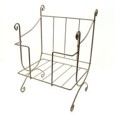 Vintage Wrought Iron Newspaper Rack Magazine Tabloid Holder Display Stand Holder