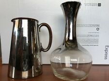 Vintage Mercury Glass Silver Fade Wine Carafe Decanter And Ceramic Pitcher