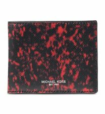 $292 Michael Kors Men's Red Camo Leather Double Billfold 6CC Card Rfid Wallet