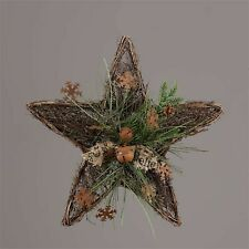 Winter Twig Star with Rusty Bells and snowflakes and pine