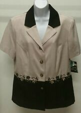 NWT Kari's Place Embroidered Black Tan Short Sleeve Button Up Top Blouse Sz: 16P