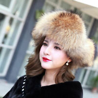 100% Real Genuine Fox Fur Hat Cap Headwear Women Warm Winter Bomber Ushanka