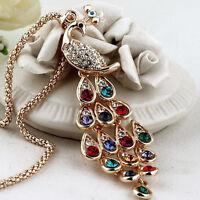 Fine Trendy Pfau Anhänger Bunte Kristall Halsketten für Frauen YE