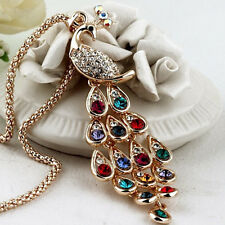 Fine Trendy Peacock Pendants Long Colorful Crystal Necklaces For Women TH