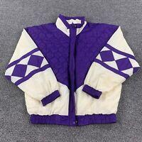 Vintage 80s 90s Womens Med Track Jacket Full Zip Color Block Lined Windbreaker