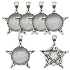 3 set/pack Alloy Silver Pentagram Bezel Charms Pendant Jewelry DIY Accessories