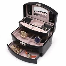 3 Layer 13 Ring Tier Black Leather Jewelry Watch Ring Box Case Crocodile Pattern