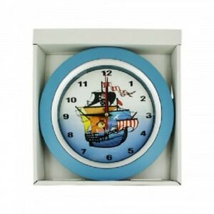 "NEW Kids Nursery Nautical Pirate Ship Wall Clock 10"""