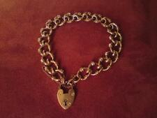Edwardian fancy-curb link heart padlock Acc 9ct hollow rose Gold Bracelet 17.4g