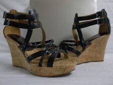 Marc Fisher Size 9.5 M Casare Black Leather Open Toe Wedges Womens Shoes