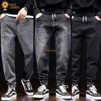 Men`s Loose Denim Pants Elastic Waist String Harem Taper Fit Baggy Jogger Jeans