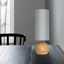 WOFI lámpara de MESA MERIDA 1 Luz Madera Arce Natural Pantalla GRIS Ø12 cm E27