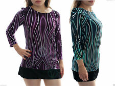 Unbranded Women's 3/4 Sleeve Sleeve Scoop Neck Hip Length Tops & Shirts