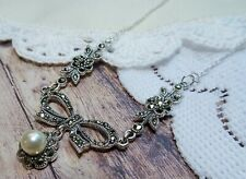 My S Collection 925 Sterling Silver, Marcasite & Pearl Bridal Bow Necklace