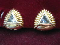 1989 Franklin Mint EGYPTIAN REVIVAL PYRAMID Art Deco 22K Gold Coated Earrings