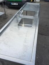 Catering Stainless Steel Single Bowl Sink With Waste Disposal 260cm Wide